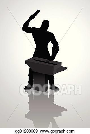 Anvil clipart silhouette. Vector blacksmith illustration