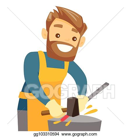 Eps vector blacksmith working. Anvil clipart smithy