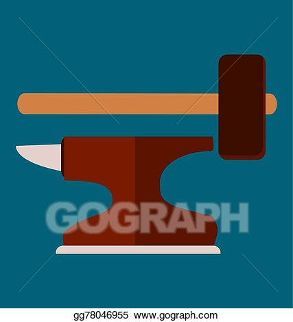 Anvil clipart vector. Eps with hammer symbol