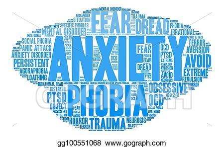 Vector stock word cloud. Anxiety clipart agoraphobia