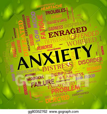 Anxiety clipart apprehension. Stock illustration word means