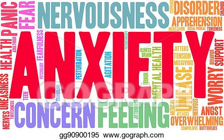 Anxiety clipart apprehension. Vector stock word cloud