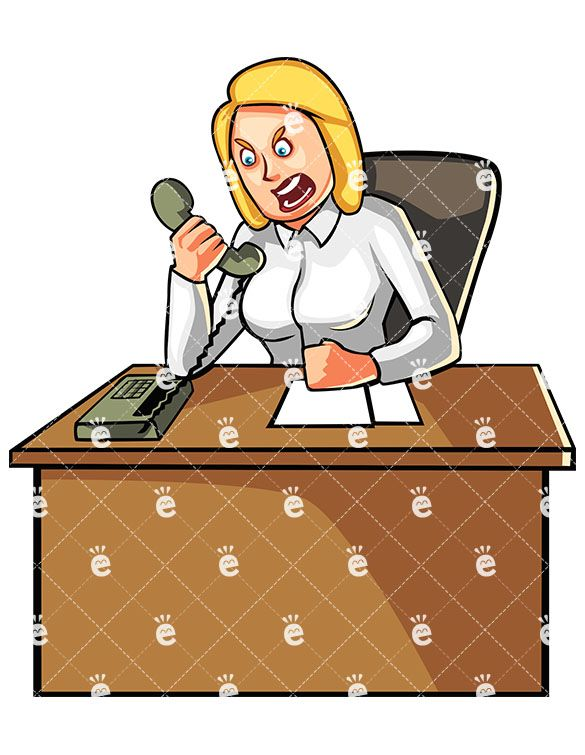 Woman yelling at someone. Business clipart cartoon