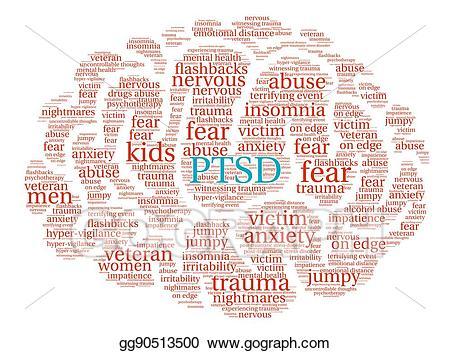 Anxiety clipart ptsd. Vector illustration brain word