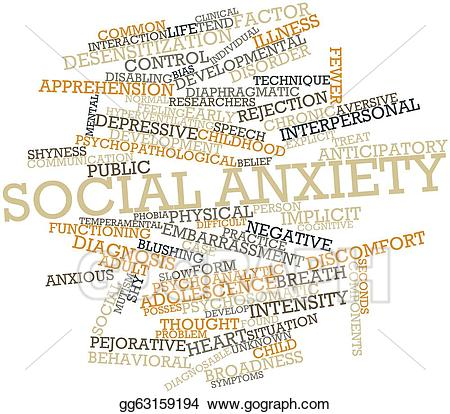Anxiety clipart social anxiety. Stock illustration clip art