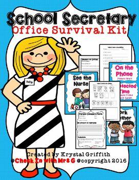 Anxiety clipart survival gear. School secretary office kit