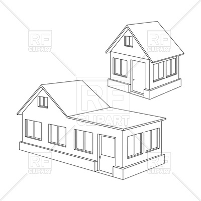 Line drawing clip art. Apartment clipart 2 house