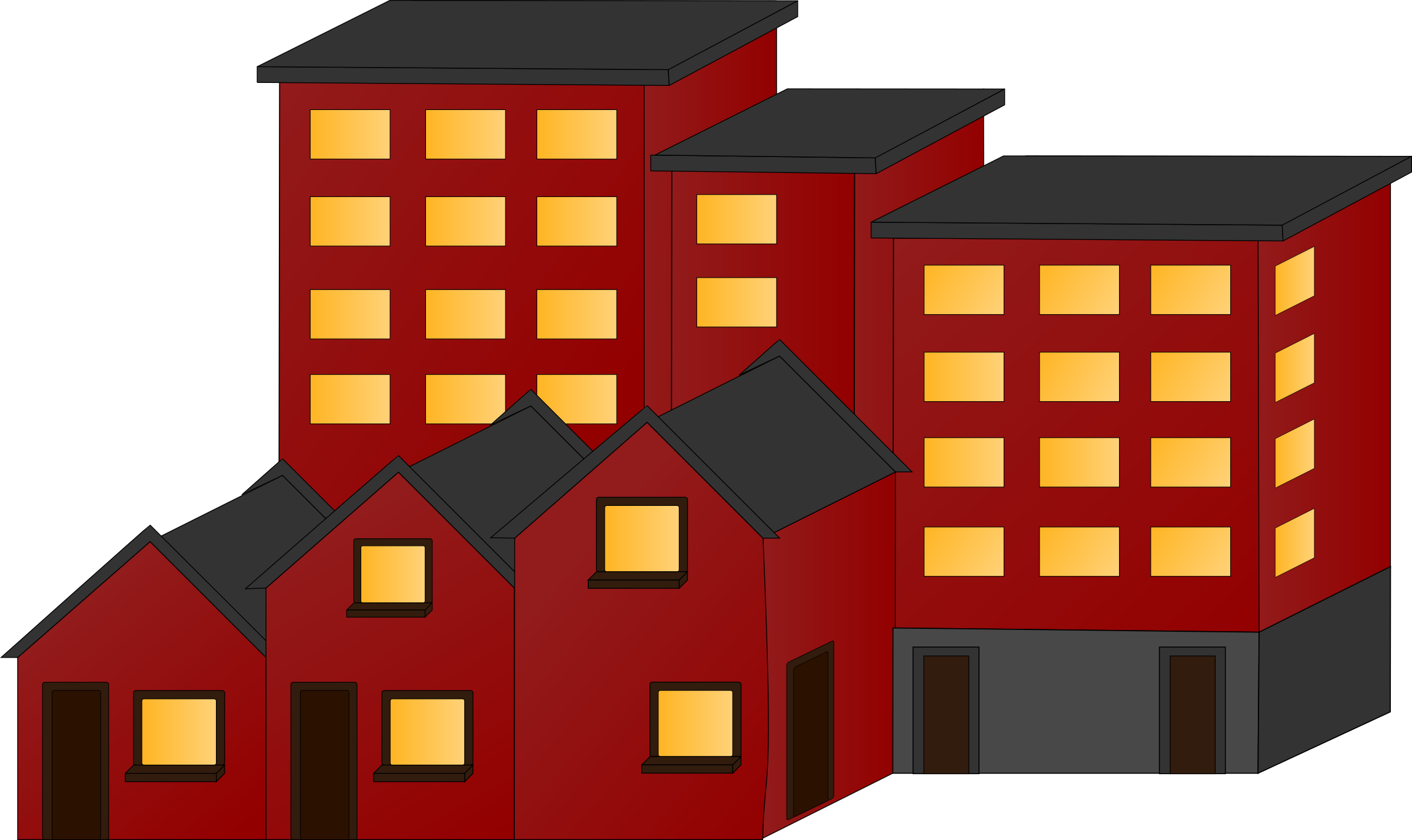 Appartment buildings and town. Apartment clipart 2 house