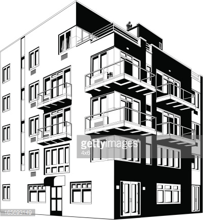 Building station. Apartment clipart black and white