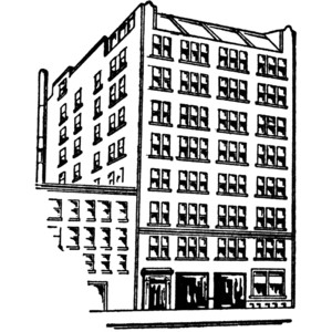 Apartment clipart black and white. Building station