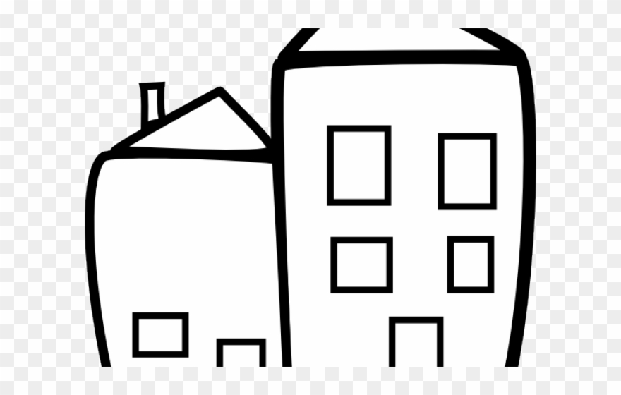 Building clip art png. Apartment clipart black and white