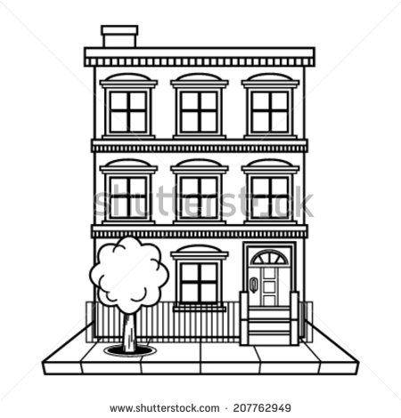 Station . Apartment clipart black and white