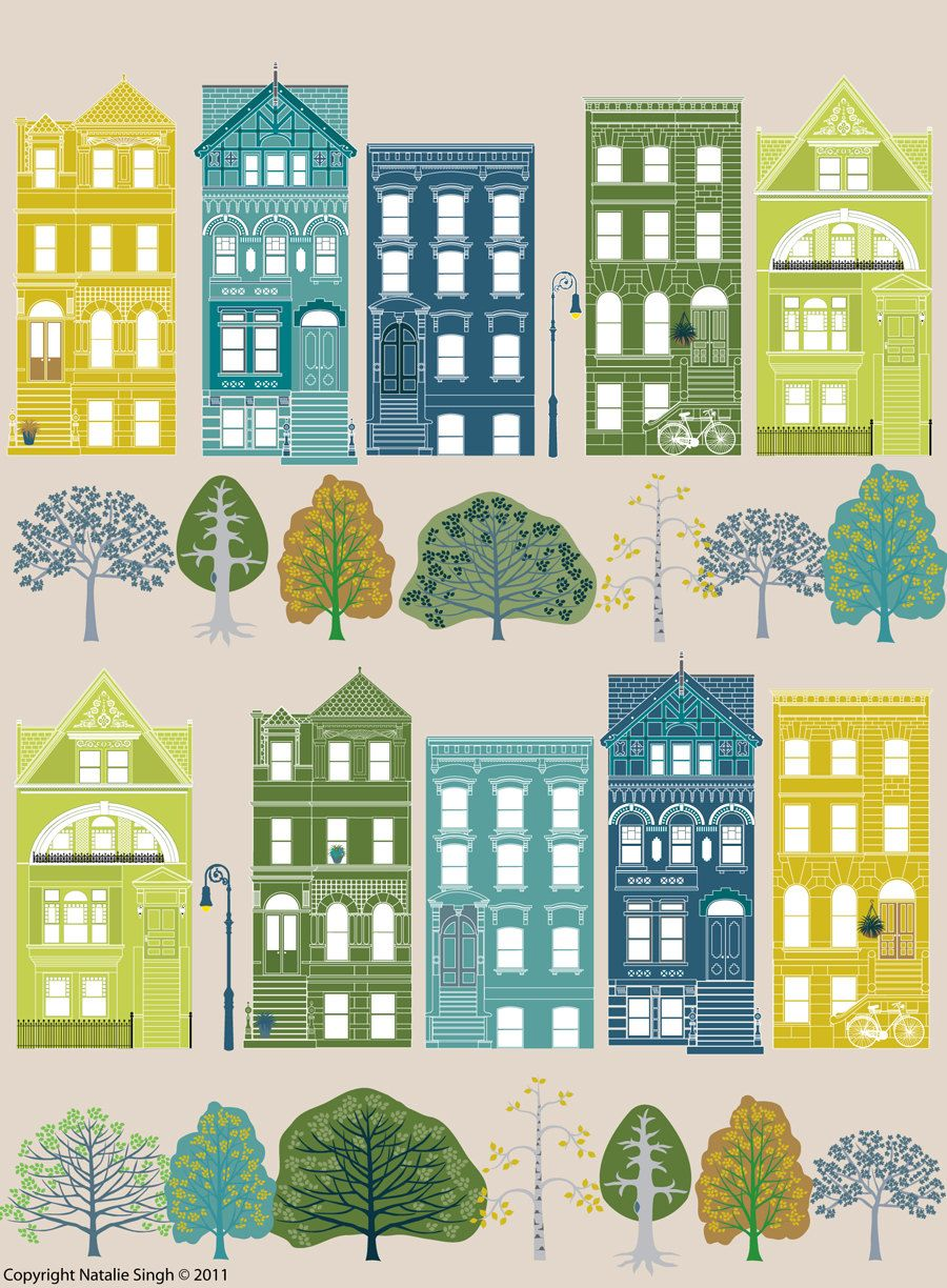 Natalie singh city illustrations. Apartment clipart brownstone