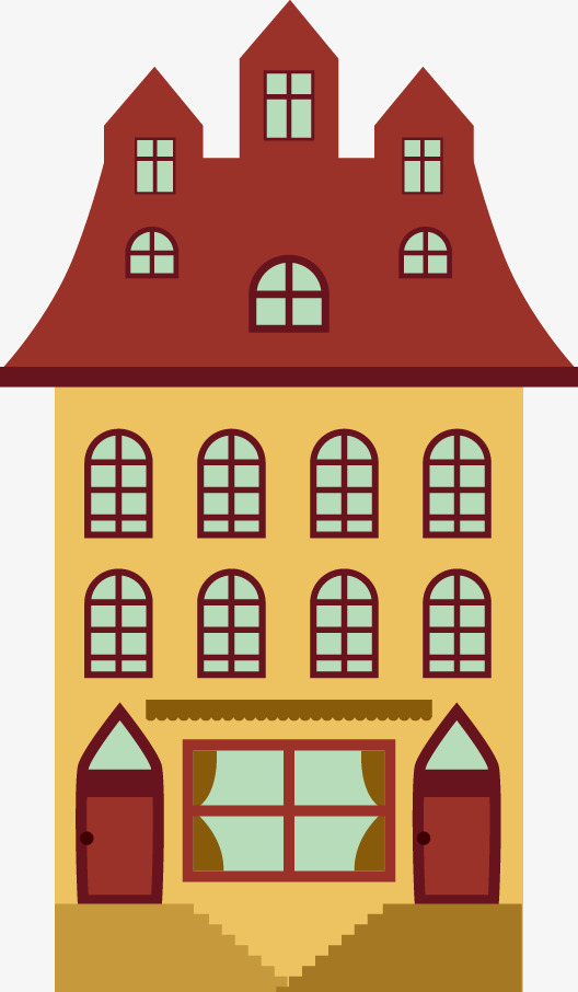 Apartment clipart building design. Vector retro house png