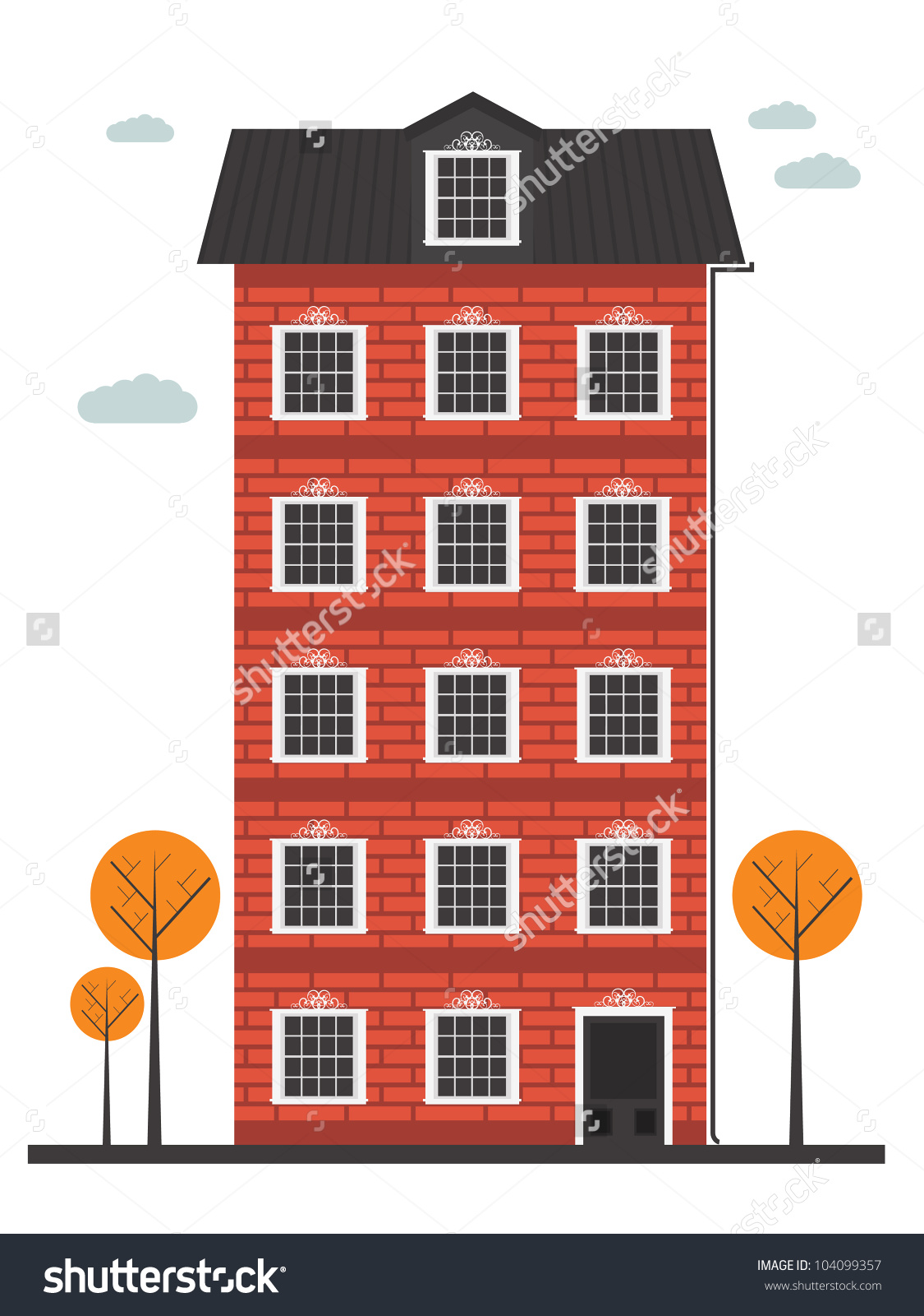 Brick illustration on perfect. Apartment clipart building design