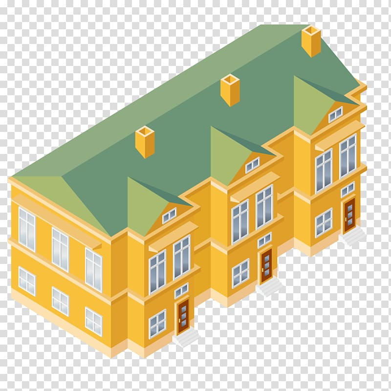 Isometric projection house building. Apartment clipart buliding
