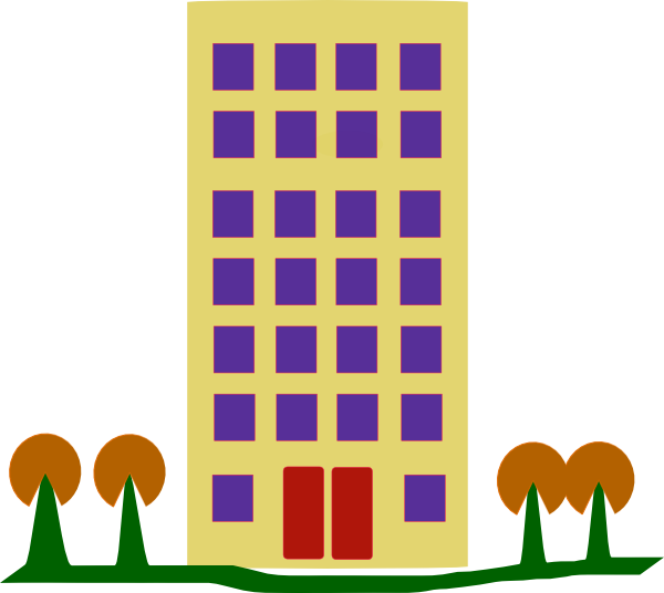 Hotel clipart pink building. With trees clip art