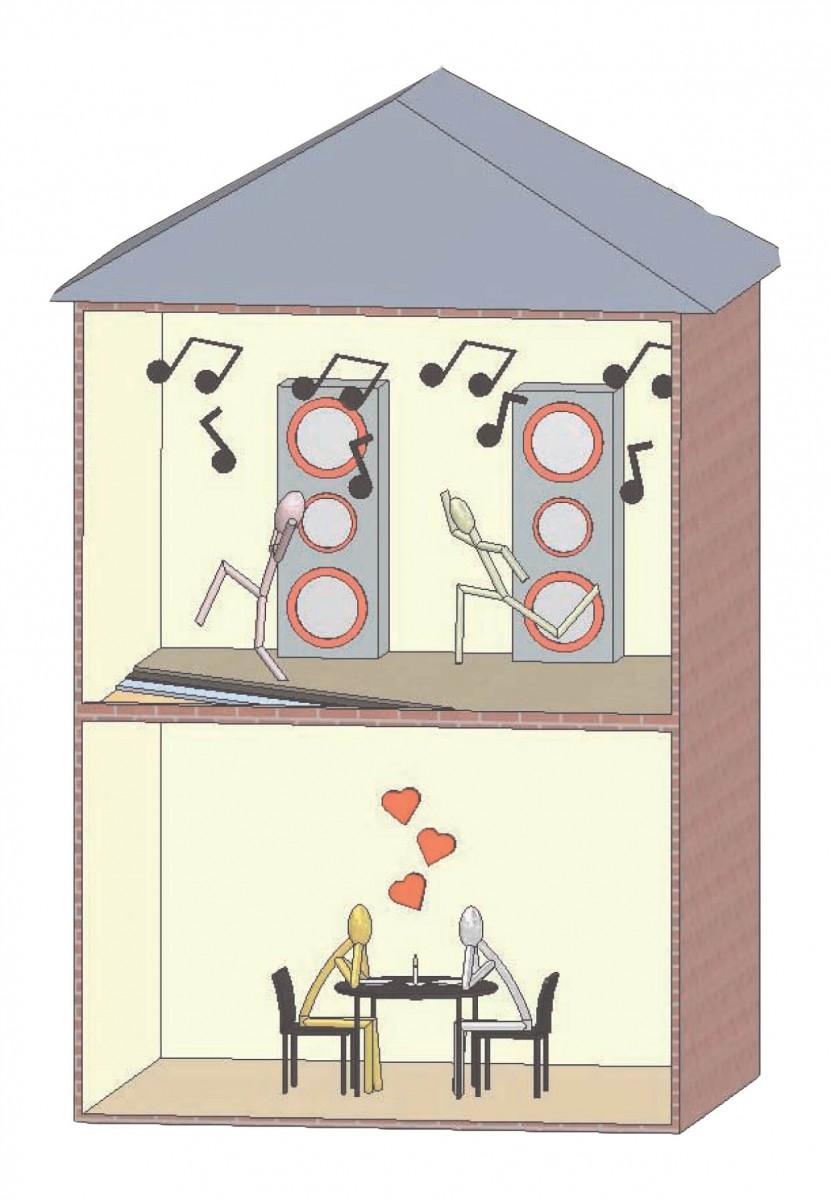 Noise reduction for condominiums. Apartment clipart condo