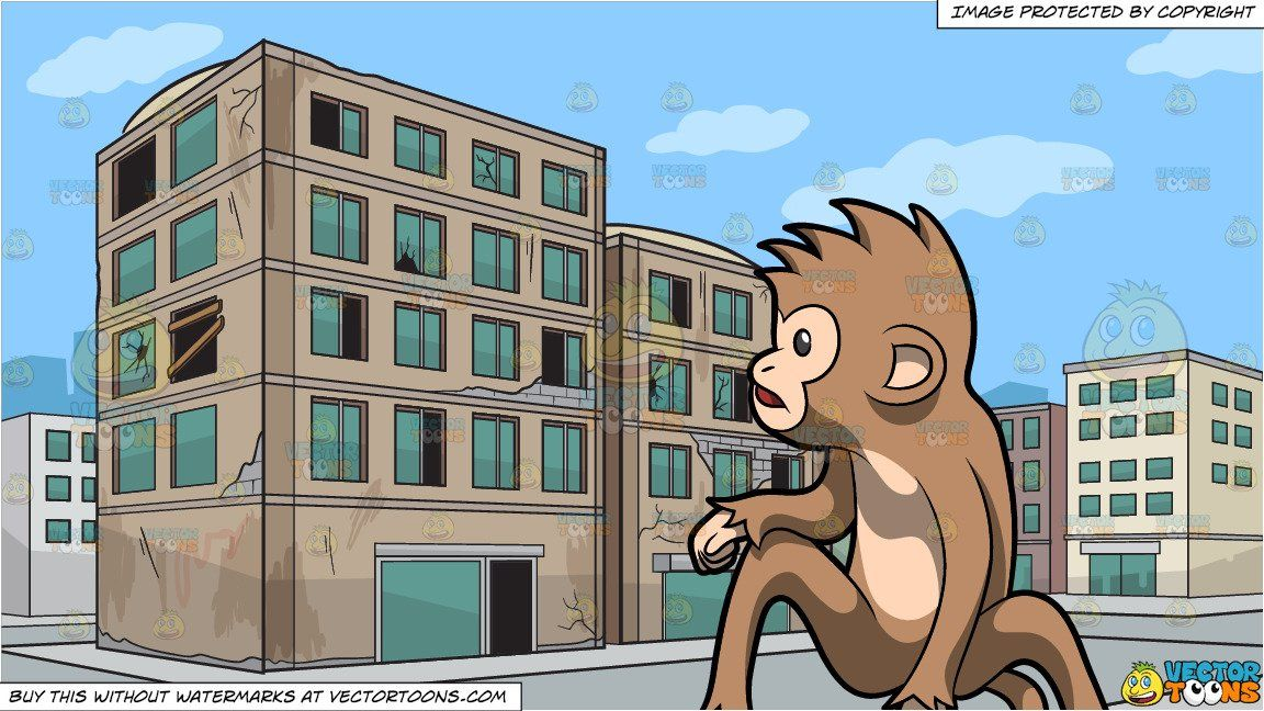 Cartoon a monkey alerted. Apartment clipart cute