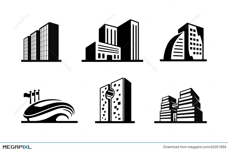Apartment clipart high rise building. Set of black and