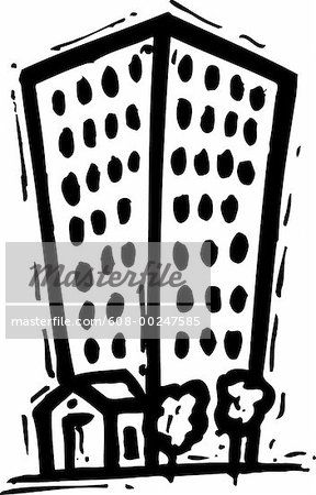 A black and white. Apartment clipart high rise building