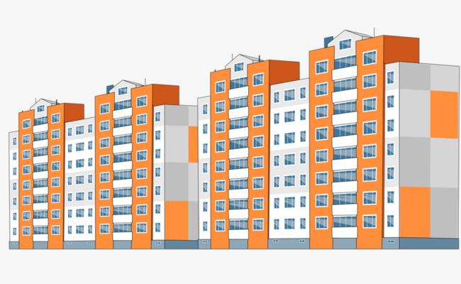 Buildings clipart condominium. High rise building cartoon