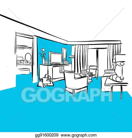 Apartment clipart hotel. Vector room luxury blue