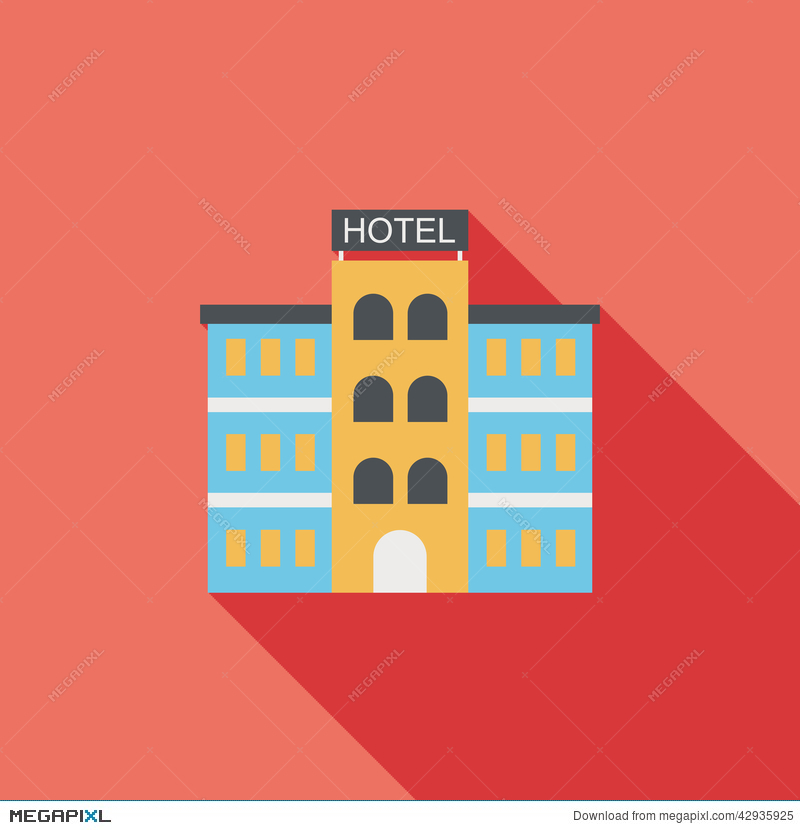 Flat icon with long. Apartment clipart hotel