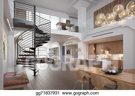 Apartment clipart living room. Stock illustration modern illustrations