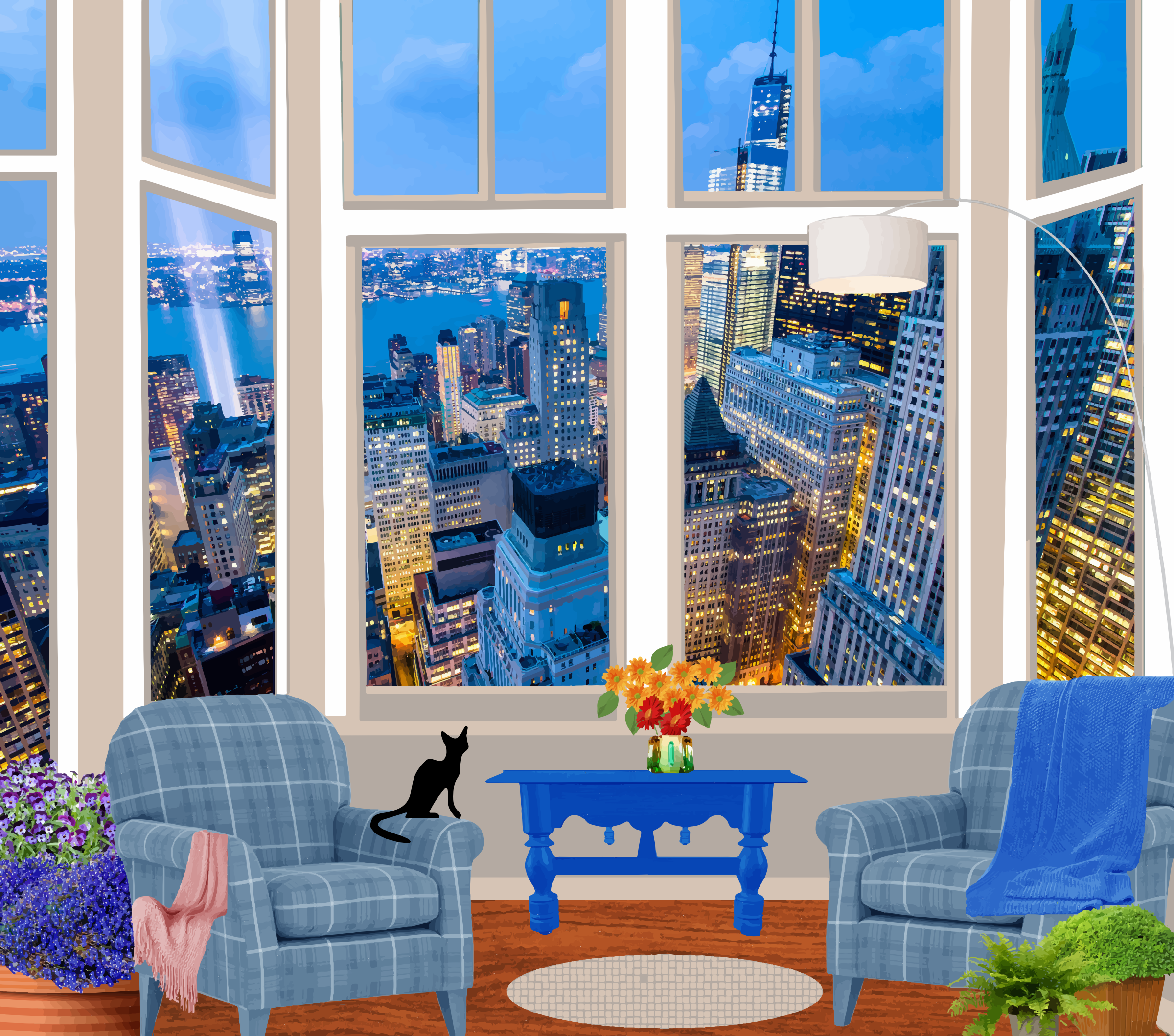 Fictional in a skyscraper. Apartment clipart living room