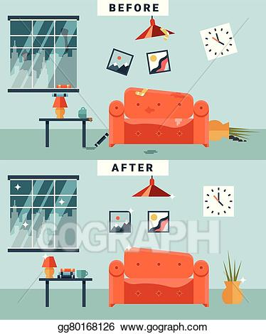 Apartment clipart messy. Vector art dirty and