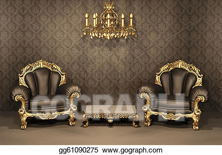 Drawing baroque armchairs with. Apartment clipart old apartment