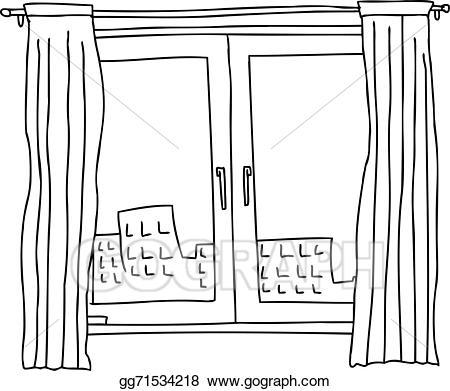 Apartment clipart outline. Vector art black windows