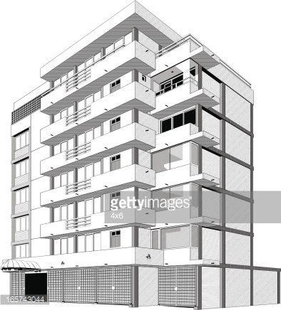 Apartment building black and. Buildings clipart outline
