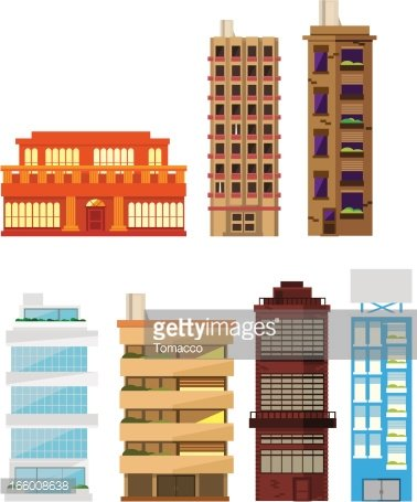 Apartment clipart residential building. House homes construction set