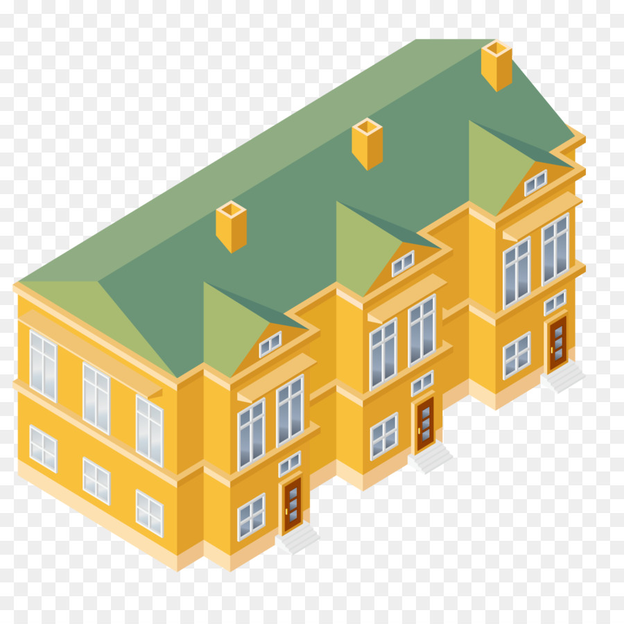 Isometric projection house clip. Apartment clipart residential building