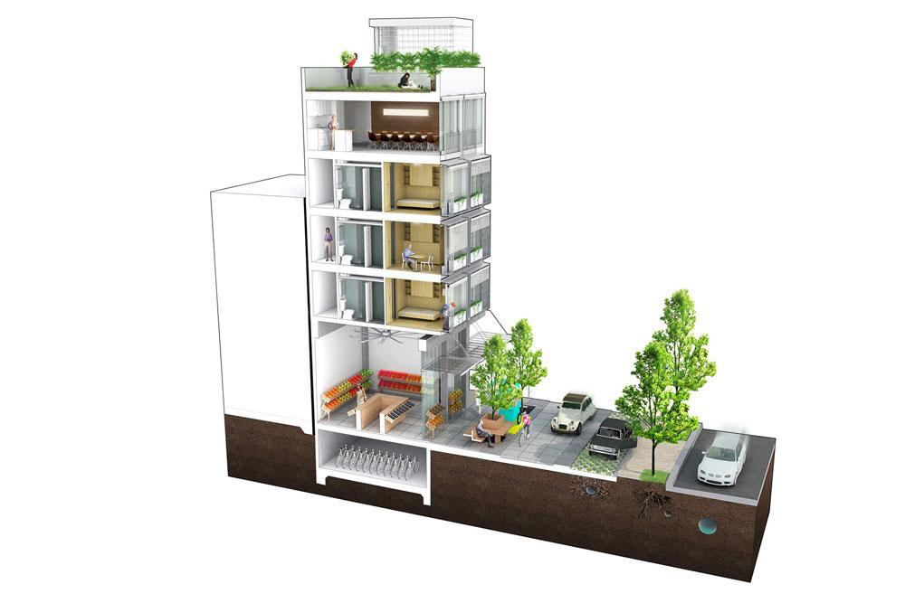 Housing solution build dorm. Apartment clipart single building