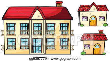Apartment clipart small apartment. Vector art a big