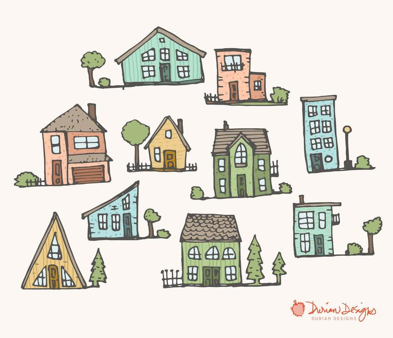 Neighborhood clipart townhouse. Cute houses commercial use