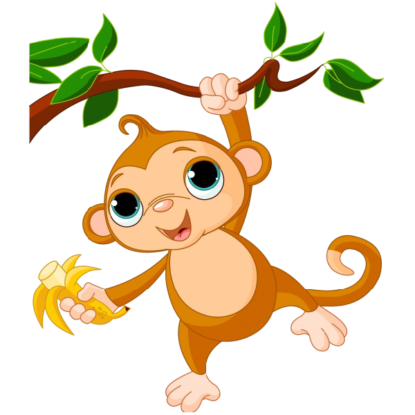Tree clipart monkey. Cute funny cartoon baby