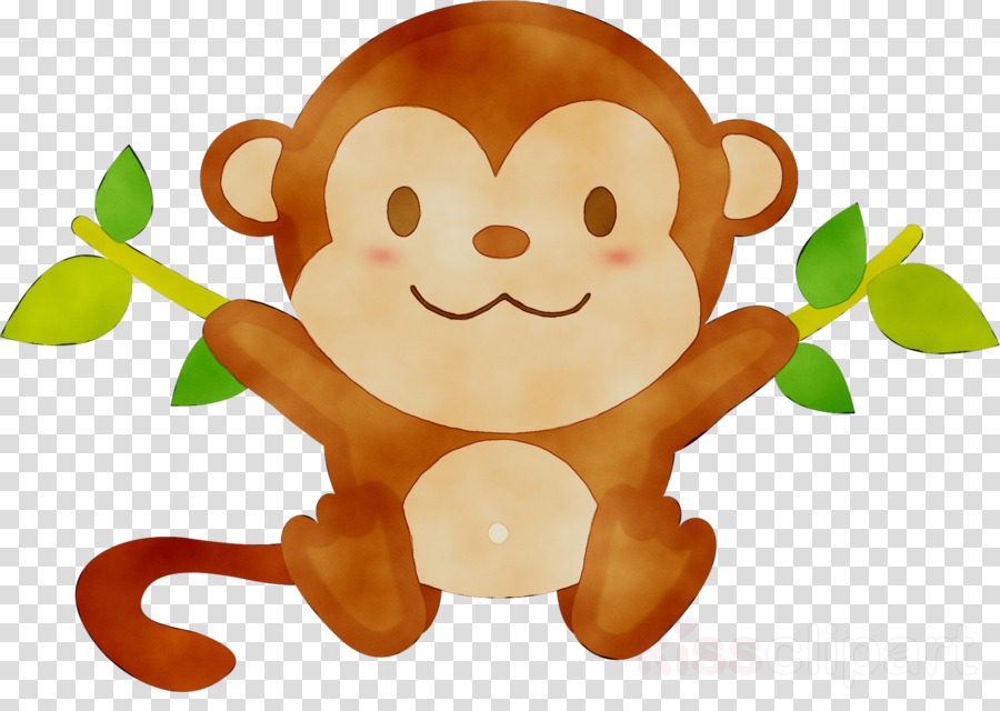 Monkey cartoon illustration . Ape clipart animated