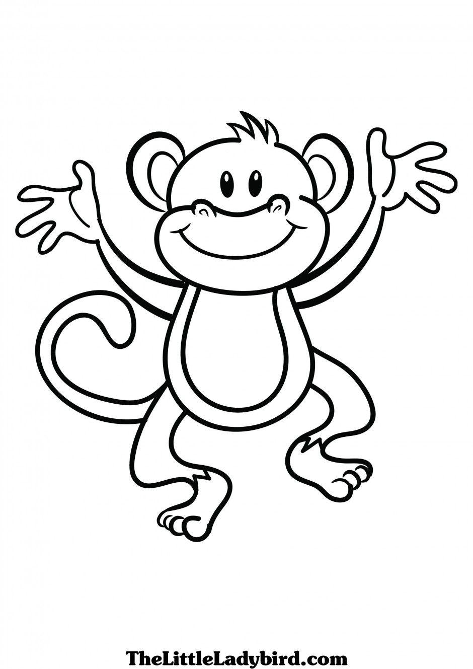 Cute clip art black. Coloring clipart monkey