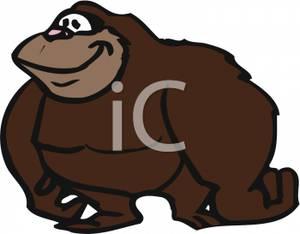 Ape clipart cartoon. Of a fat royalty