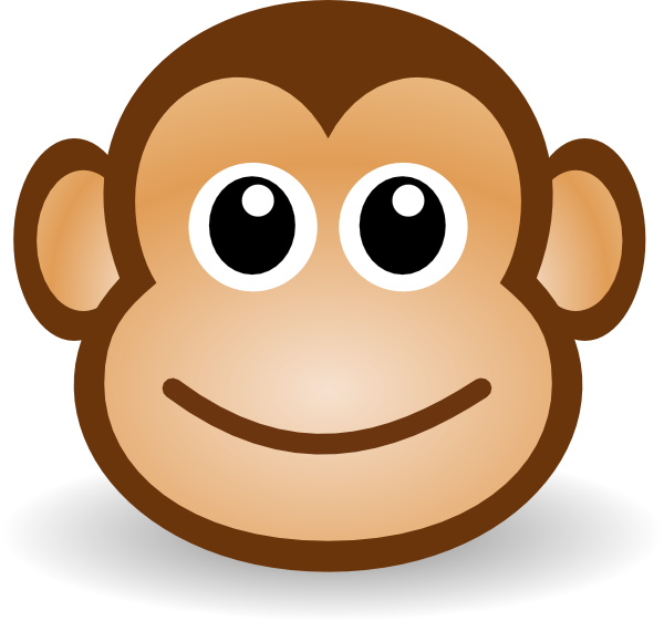 Clipart monkey template. Simple face drawing at
