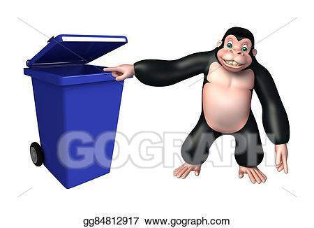 Drawing cute cartoon character. Ape clipart gorilla arm