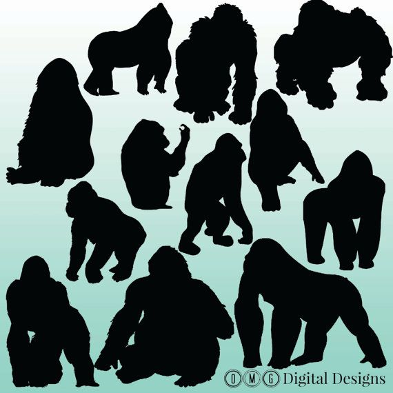 Ape clipart gorilla family.  silhouette images by