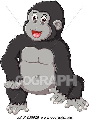 Ape clipart gorilla family. Vector stock cute cartoon