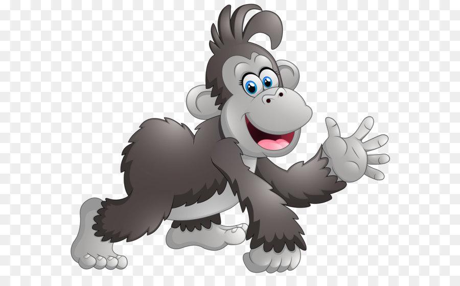 Cartoon monkey baboons drawing. Ape clipart happy