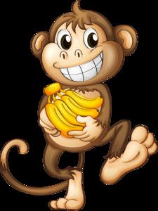Ape clipart happy. Monkey with bananas monkeys