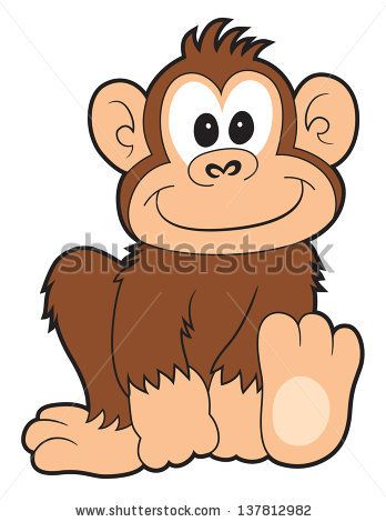 A cartoon monkey smiling. Ape clipart happy